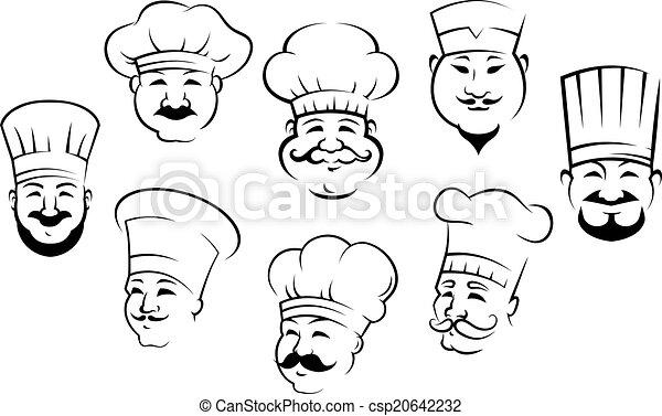 sonriente, conjunto, cabezas, chefs - csp20642232