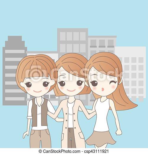 Tres chicas de dibujos animados sonriendo - csp43111921