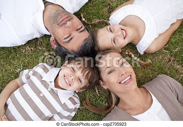 sonriente, parque, acostado, familia  - csp2705923