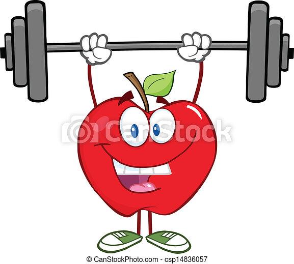 La manzana sonriente levanta pesas - csp14836057