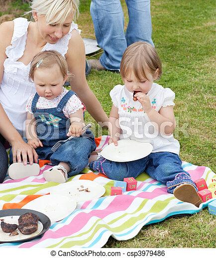 sonriente, picnic, juntos, familia , teniendo - csp3979486
