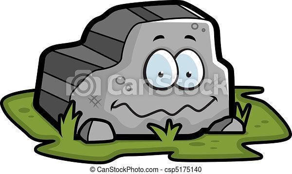 Sonriente Roca Gris Sonriente Caricatura Happy Roca