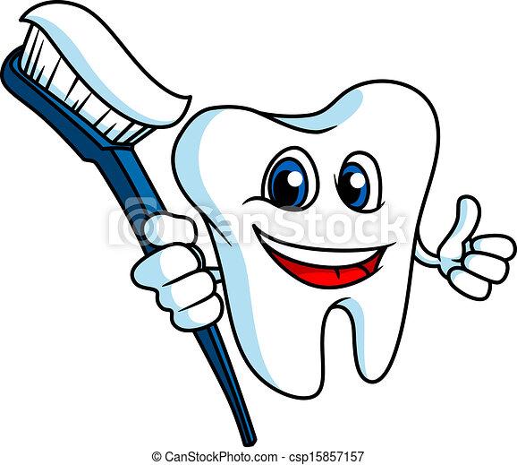 Dientes sonrientes con cepillo de dientes - csp15857157