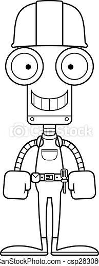 Robot trabajador de la construcción sonriente - csp28308051