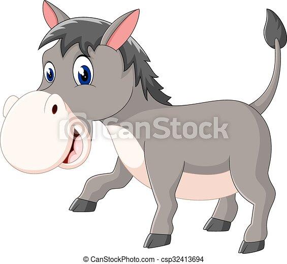 Grficos vectoriales EPS de sonrisa burro caricatura feliz