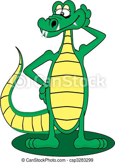 Cartoon Gator de pie y posando con una sonrisa - csp3283299