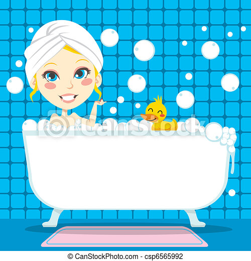 soothing bubble bath pretty blond woman with white towel on her rh canstockphoto com bubble bath clip art free bubble bath clipart images