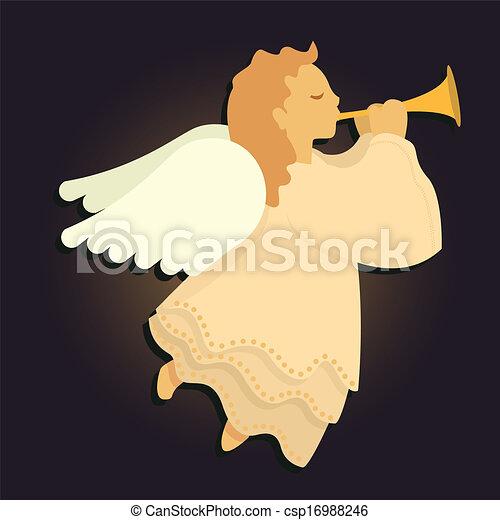 Ángel tocando la bocina - csp16988246