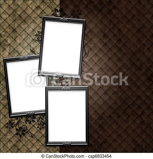 sopra, elementi, vendemmia, cornice, carta da parati, floreale, strisce, argento - csp6833454