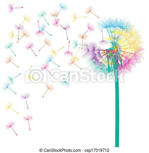 sopro, conceito, dandelion, abstratos, vetorial, fundo - csp17019712
