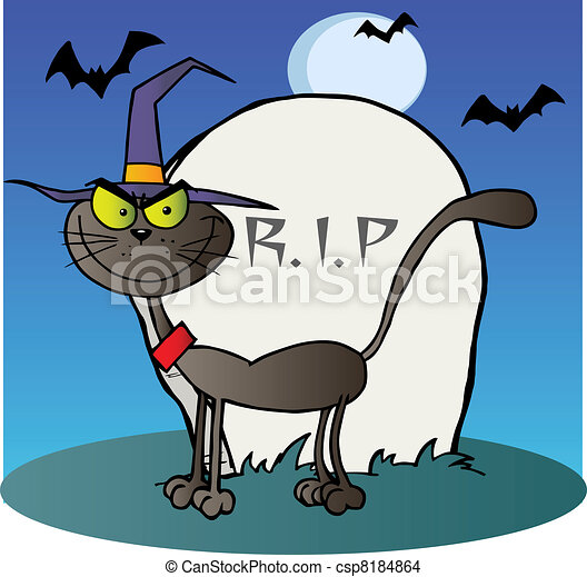 Bleu sorci re halloween pierre tombale chat - Pierre tombale dessin ...