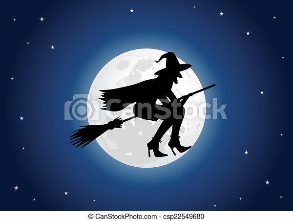 sorcière, lune - csp22549680