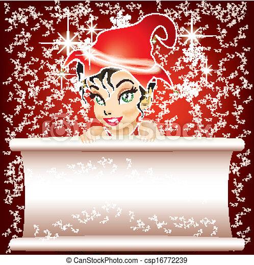 sorridente, carta, elfo, bianco rosso - csp16772239