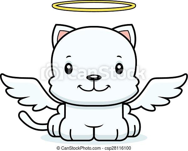 sorridente, cartone animato, angelo, gattino - csp28116100