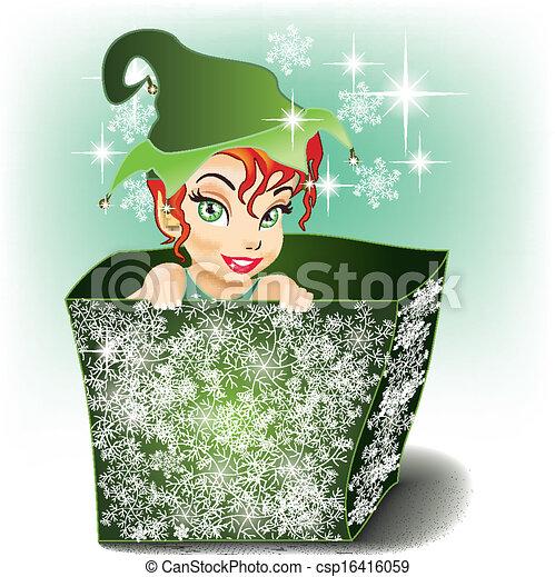 sorridente, elfo, pacchetto - csp16416059