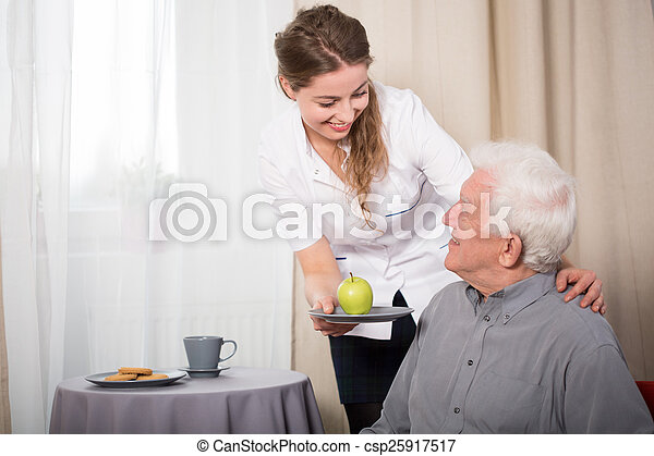 sorridente, infermiera, pensionato, utile - csp25917517
