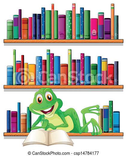 sorridente, libro lettura, rana - csp14784177
