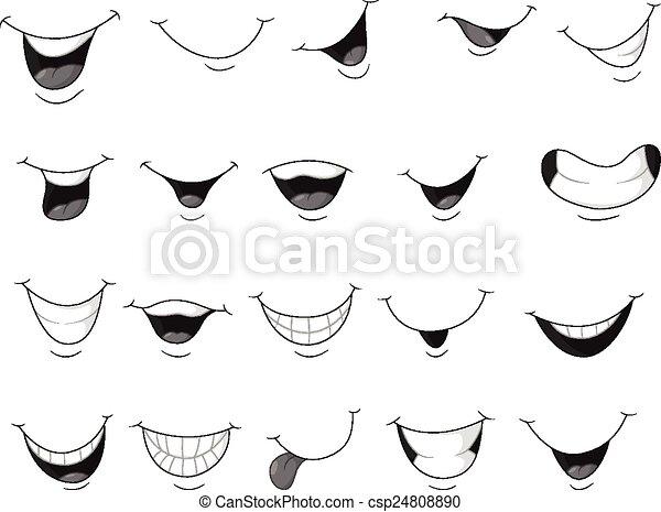 sorridente, set, bocca, cartone animato - csp24808890