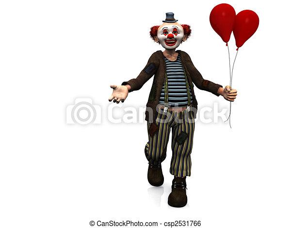 sorrindo, balloons., palhaço, vermelho - csp2531766