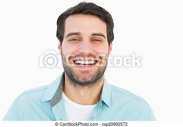 sorrindo, câmera, casual, homem, feliz - csp20892572