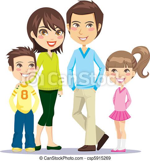 sorrindo, família, feliz - csp5915269