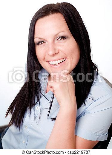 sorrindo, morena, escritório, mulher - csp2219787