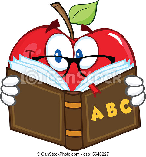 sorrindo, personagem, maçã, professor - csp15640227