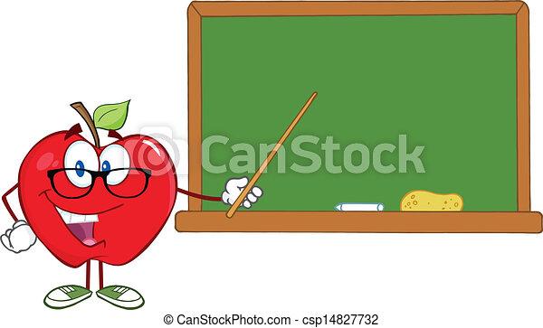 sorrindo, personagem, maçã, professor - csp14827732