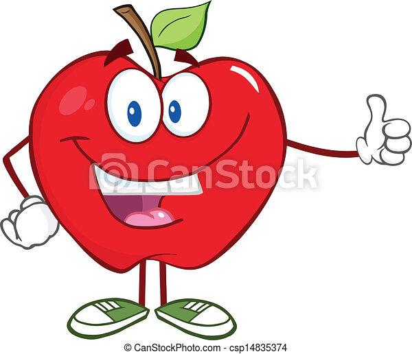 sorrindo, polegar, maçã, atrasando - csp14835374