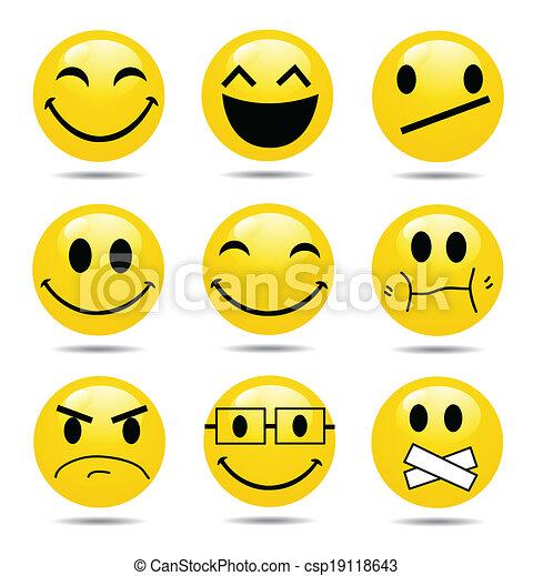 sorriso, vettore, set, icona - csp19118643