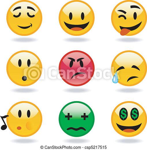 sorrisos, vetorial, jogo, fresco - csp5217515