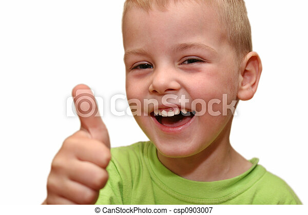 sorrizo, menino, cima, dedo - csp0903007