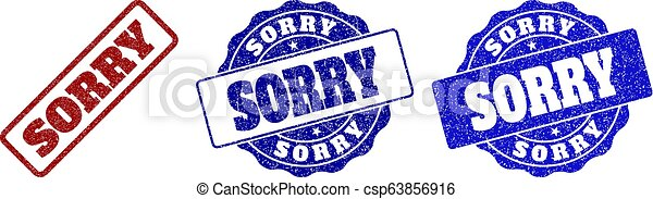 SORRY Scratched Stamp Seals - csp63856916