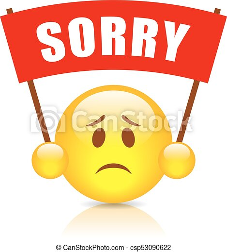 sorry vector sign illustration isolated on white background vector rh canstockphoto com sorry clipart animated sorry clipart free
