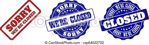 SORRY WE'RE CLOSED Scratched Stamp Seals - csp64022702