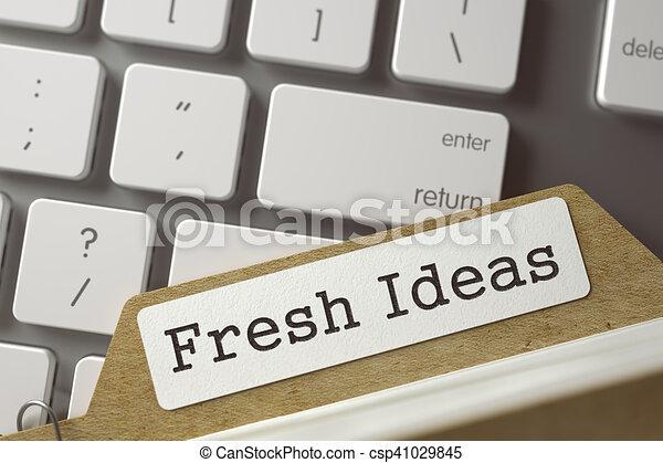 Sort Index Card with Inscription Fresh Ideas. 3D Render. - csp41029845