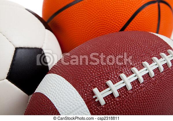 sortido, branca, bolas, esportes - csp2318811