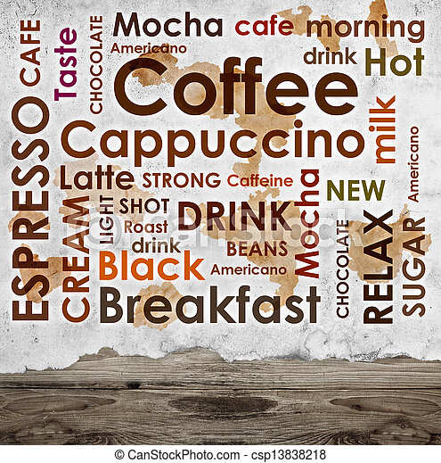 sorts of coffee on wooden background - csp13838218
