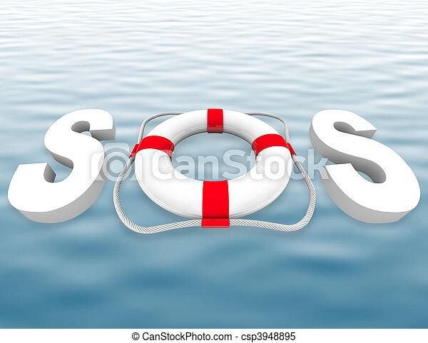 SOS - Life Preserver on Water Surface - csp3948895