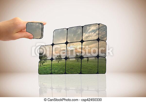 sostenible, cubos, crecimiento, concept:, mano - csp42450330
