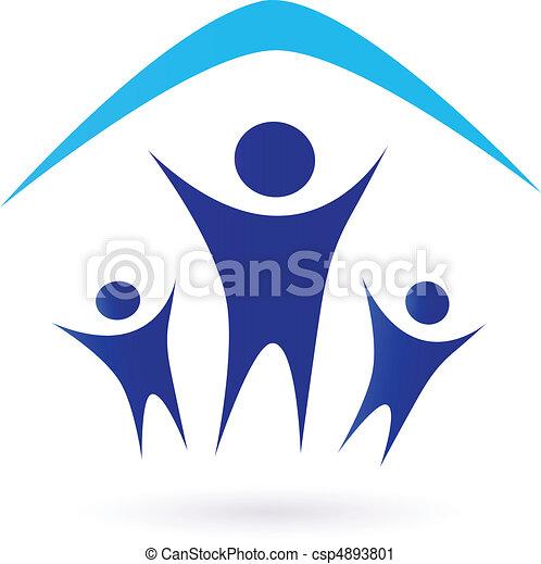 sotto, -, famiglia, tetto, icona - csp4893801