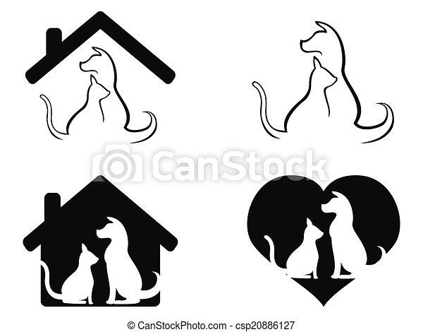 soucier, chouchou, symbole, chien, chat - csp20886127