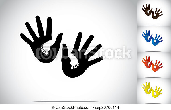 soucier, soutenir, différent, concept, art, coloré, coloré, résumé, soutien, -, jeune, illustration, pieds, bébé, mains humaines, encombrements, protéger, silhouette, enfants, art. - csp20768114
