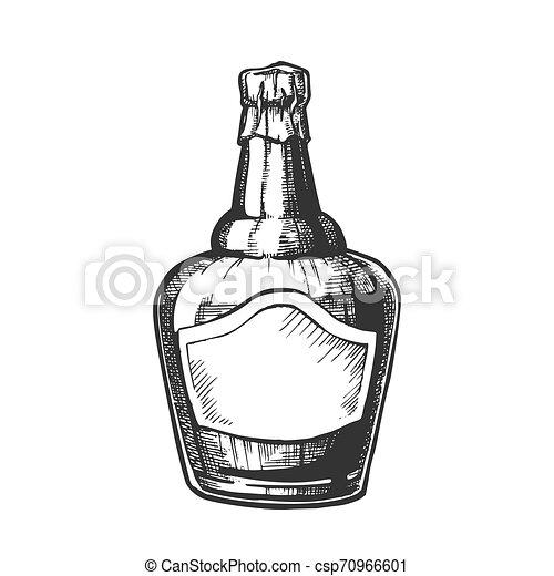 soufflé, casquette, fleuret, vecteur, bouteille, whisky écossais - csp70966601