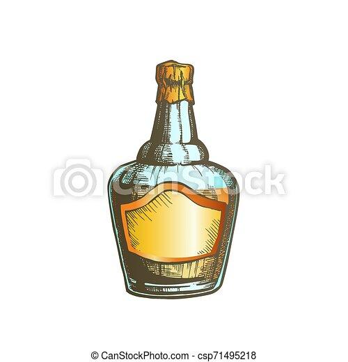 soufflé, couleur, casquette, fleuret, vecteur, bouteille, whisky écossais - csp71495218