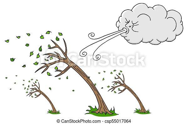 souffler, arbres, venteux, vent, jour, nuage - csp55017064
