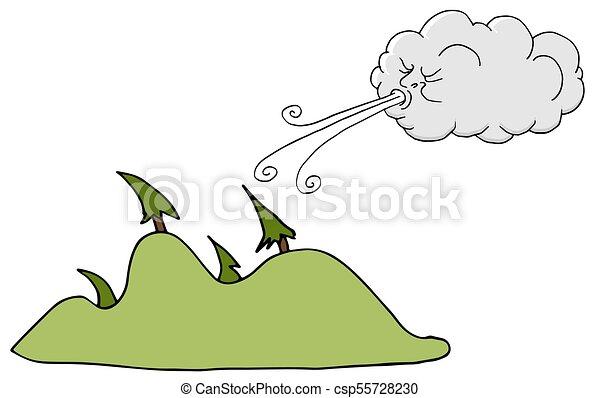 souffler, arbres, venteux, vent, jour, nuage - csp55728230
