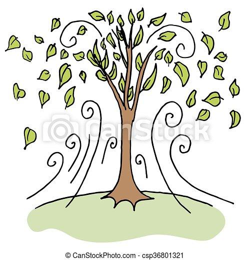 souffler, fermé, rafale, feuilles, arbres, jour venteux, ascendant - csp36801321