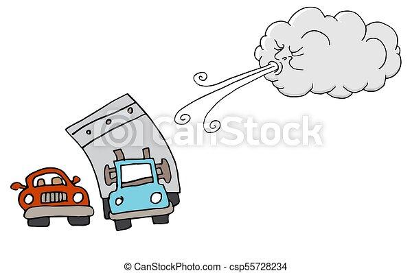 souffler, voitures, venteux, camion, nuage, jour, vent - csp55728234