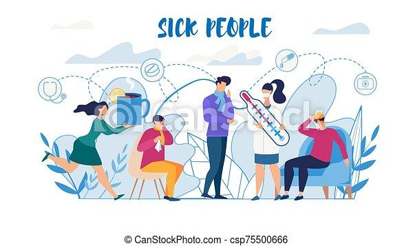 souffrance, besoin, affiche, gens malades, grippe, aide - csp75500666